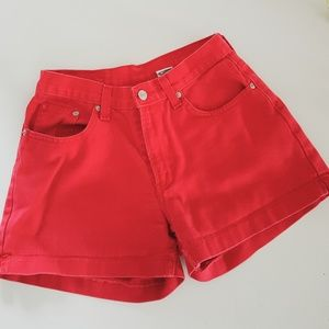 VINTAGE HIGH RISE RED JORDACHE SHORTS